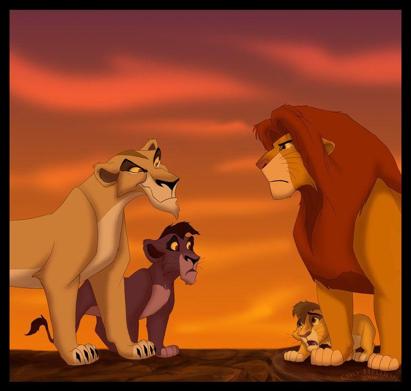 Simba And Zira With Their Sons Kopa And Nuka Lion King
