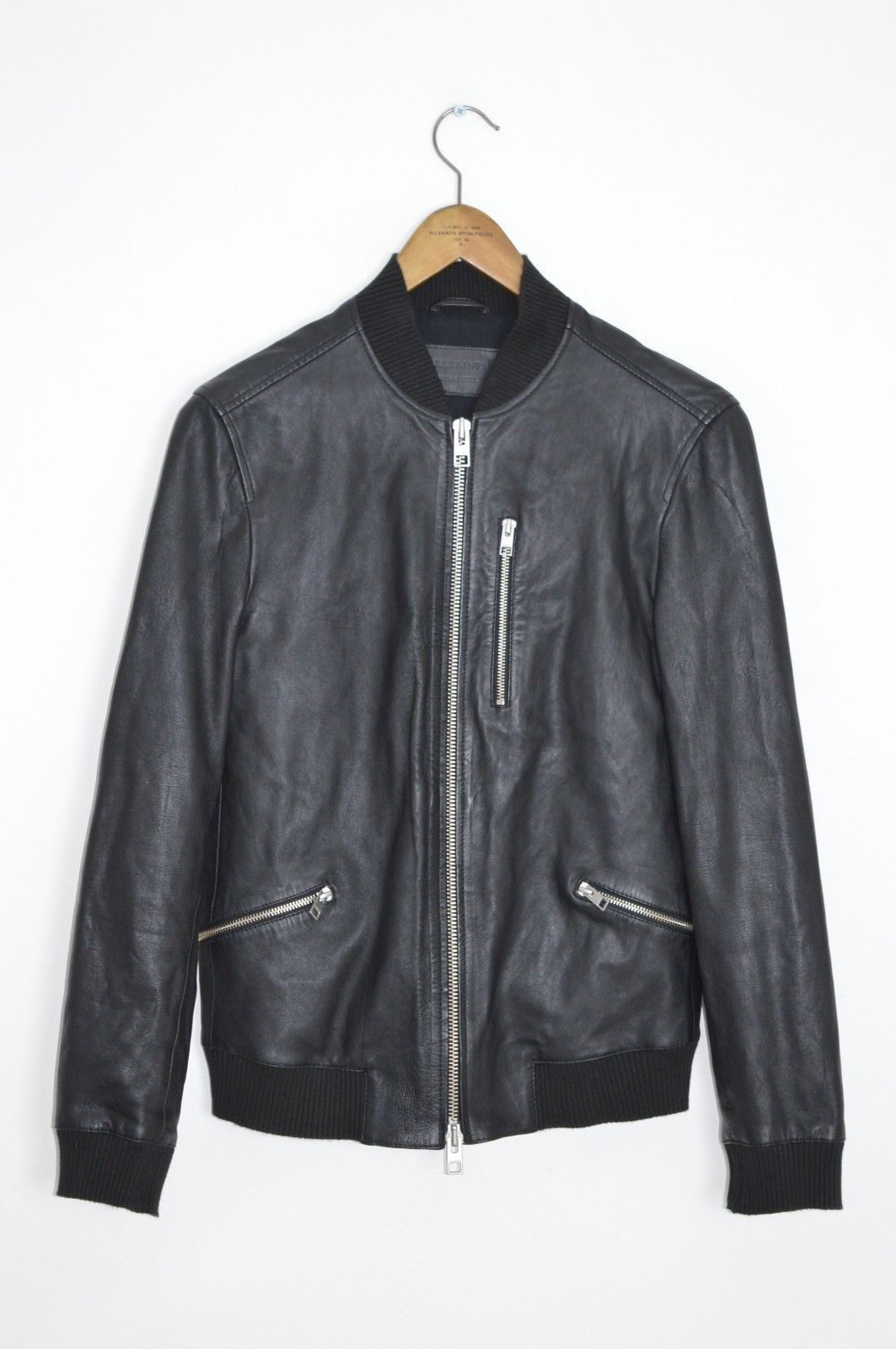 AWESOME SAUCE XS AllSaints Mens UTILITY Leather Bomber