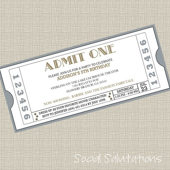 Printable Movie Ticket Party Invitation Movie tickets, Party