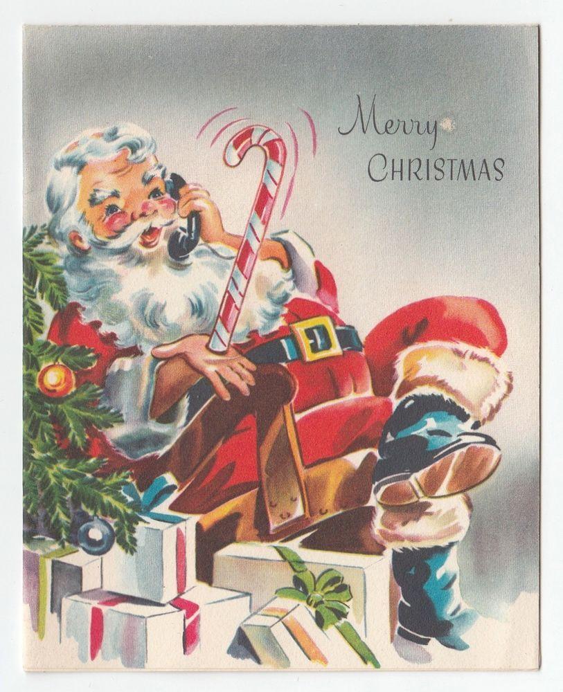 Vintage Greeting Card Christmas Santa Claus Talking On Phone