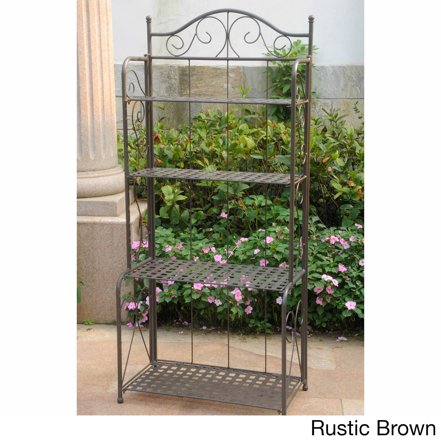 International Caravan Iron Folding Patio Bakers Rack   Overstock™ Shopping    Big Discounts On International Caravan Potting Tables