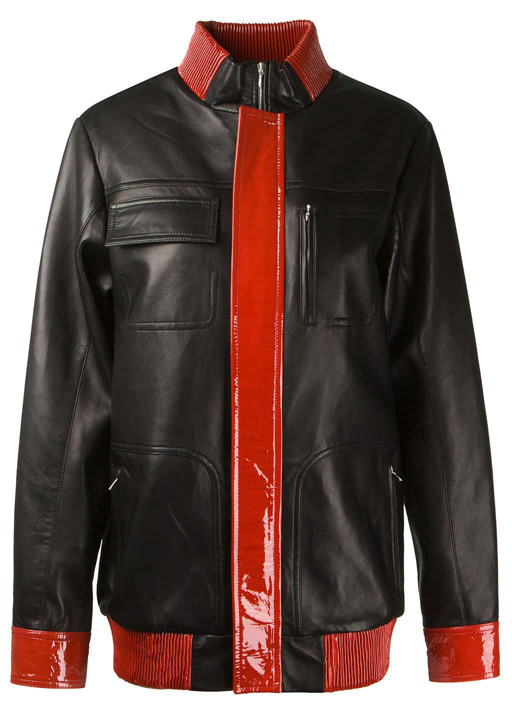 Anthony Vaccarello Jackets :: Anthony Vaccarello patent and nappa leather jacket | Montaigne Market