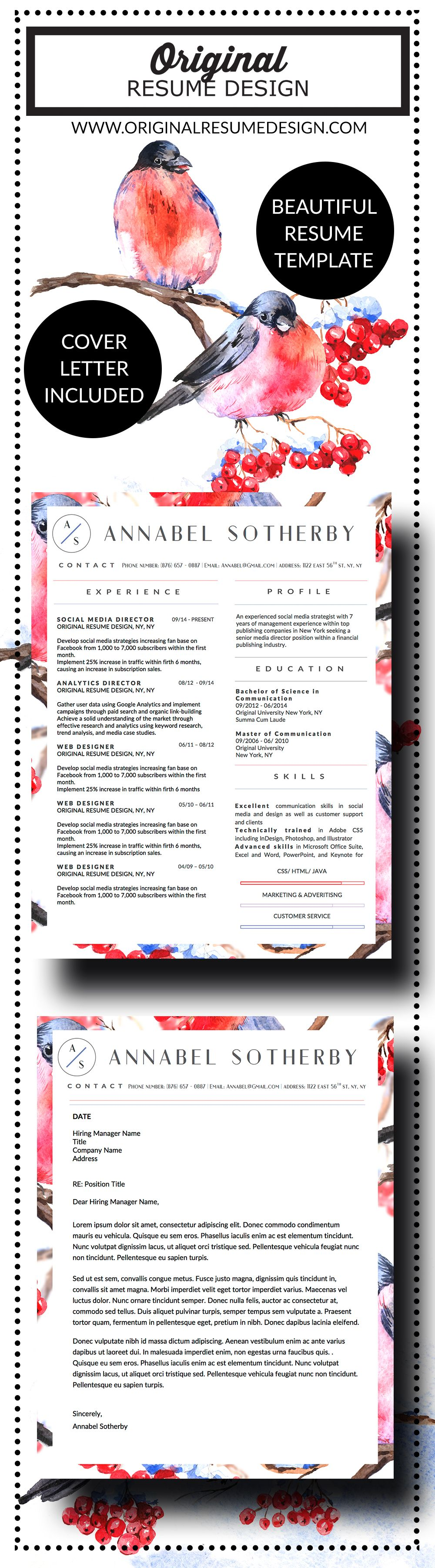 Beautiful resume template for MS Word by Original Resume Design ...