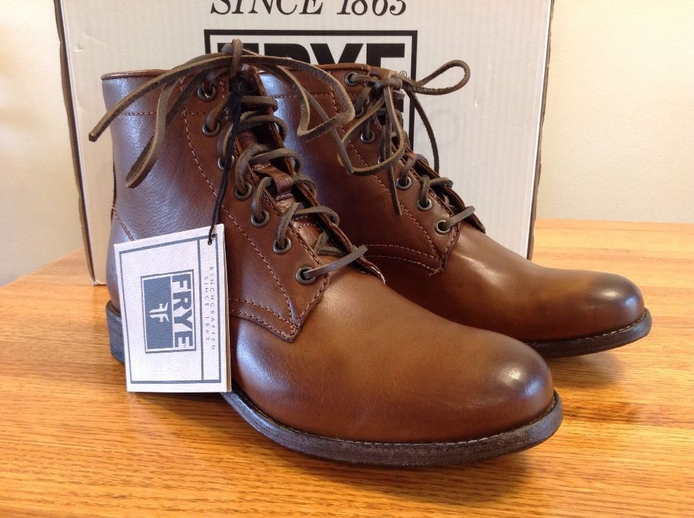 New in Box FRYE Womens Tyler Lace Up Combat Boot 10 Cognac Leather Retail  288