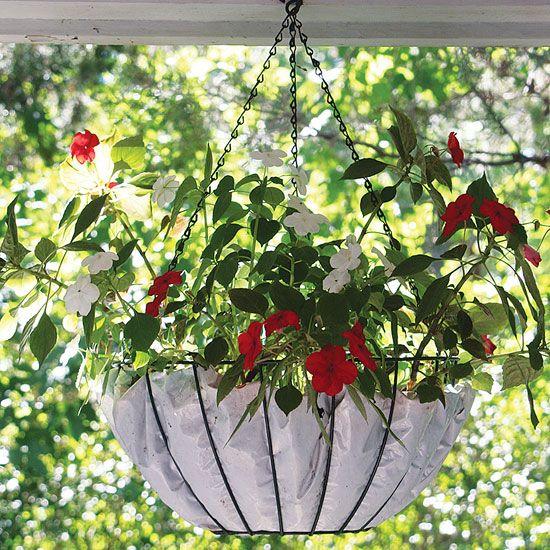 Diy Hanging Basket Liner Diy Mother Earth News Hanging Plants Hanging Baskets Diy Hanging Baskets