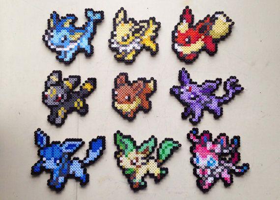 Evoli Aquali Voltali Flareon Umbreon Espeon Leafeon Glaceon Sylveon Pokemon Perler Bead Perler Bead Art Pokemon Bead Pokemon Perler Beads