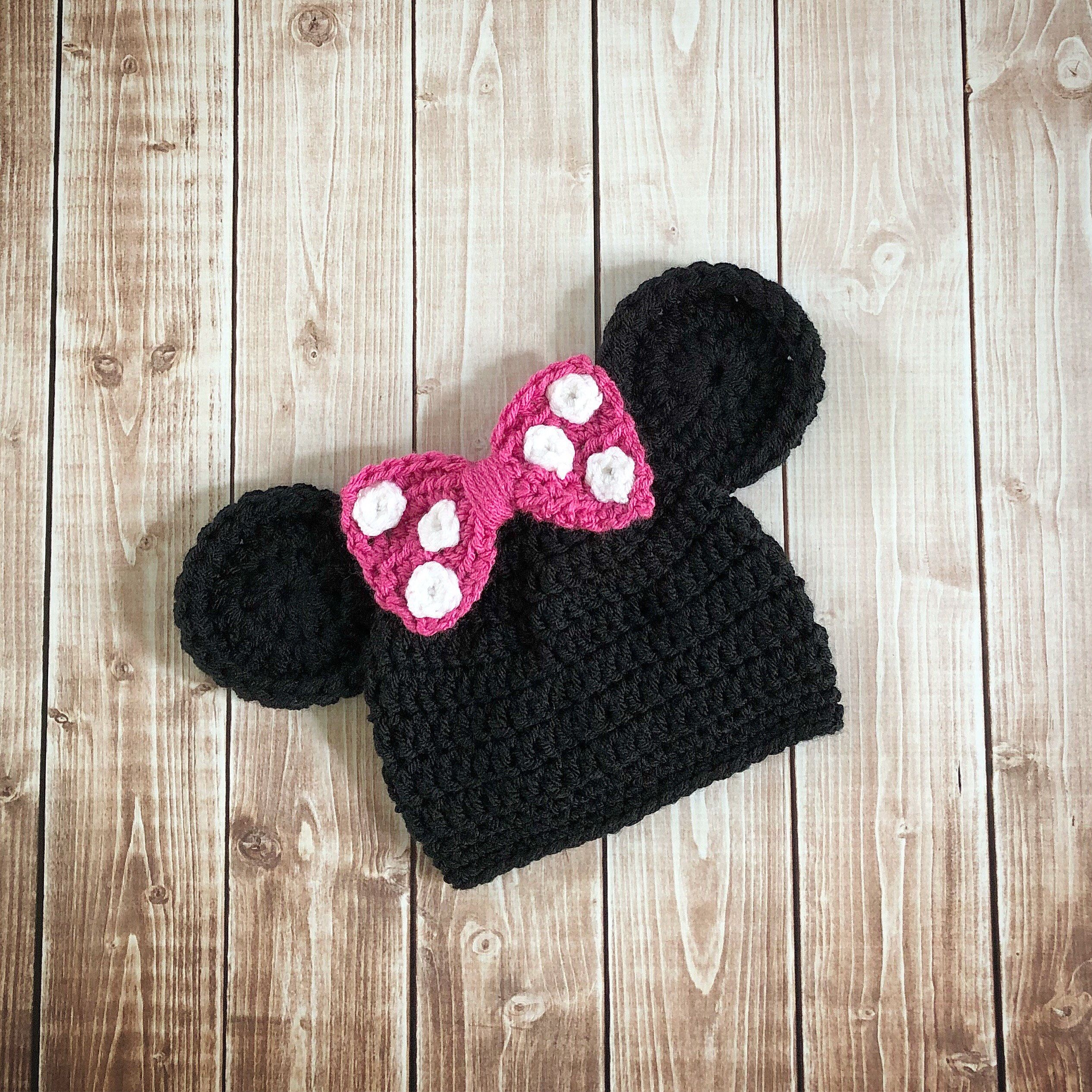 dcd396e3dc3 Excited to share this item from my  etsy shop  Minnie Mouse Inspired Hat  Crochet  Minnie Mouse Hat  Available in Newborn to Adult Size- MADE TO ORDER