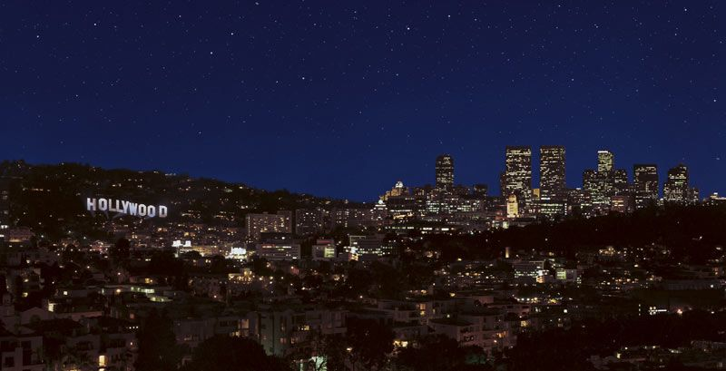 hollywood sign at night images | Stock Photo - Hollywood ...
