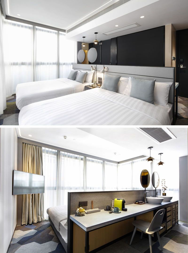 This Modern Hotel Room Suitable For Four People Has A Headboard
