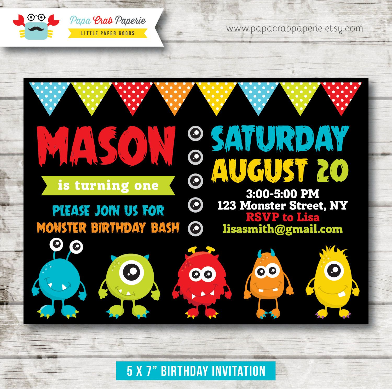 Monster Birthday Invitation, Monster Invitation, Monster Party ...