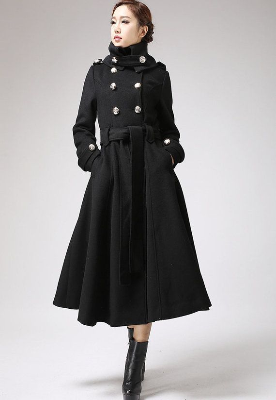 Black coat, long coat, military coat, tie belt coat, cashmere coat ...