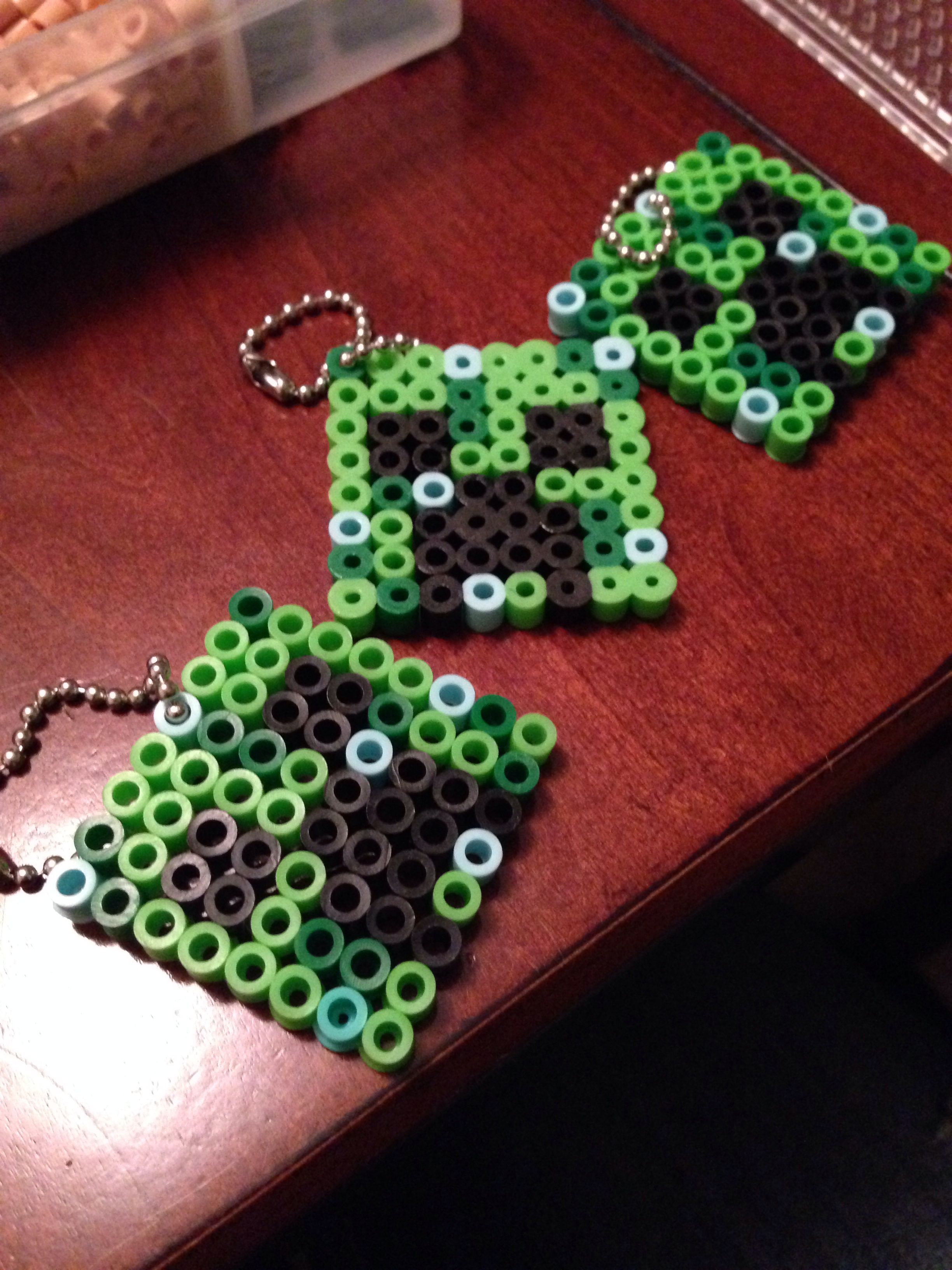 Minecraft Creeper Key Chains Perler Beads By Dezzy Veasey