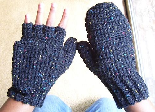 Knitting Patterns For Fingerless Gloves With Mitten Cover : Ravelry: Crocheted Mittens / Fingerless Gloves (Womens ...