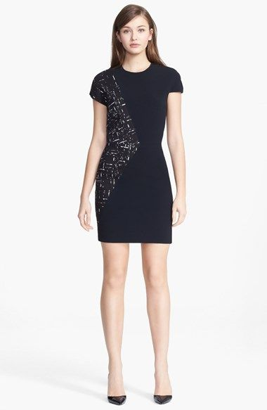 Narciso Rodriguez Jacquard Contrast Crewneck Dress available at #Nordstrom