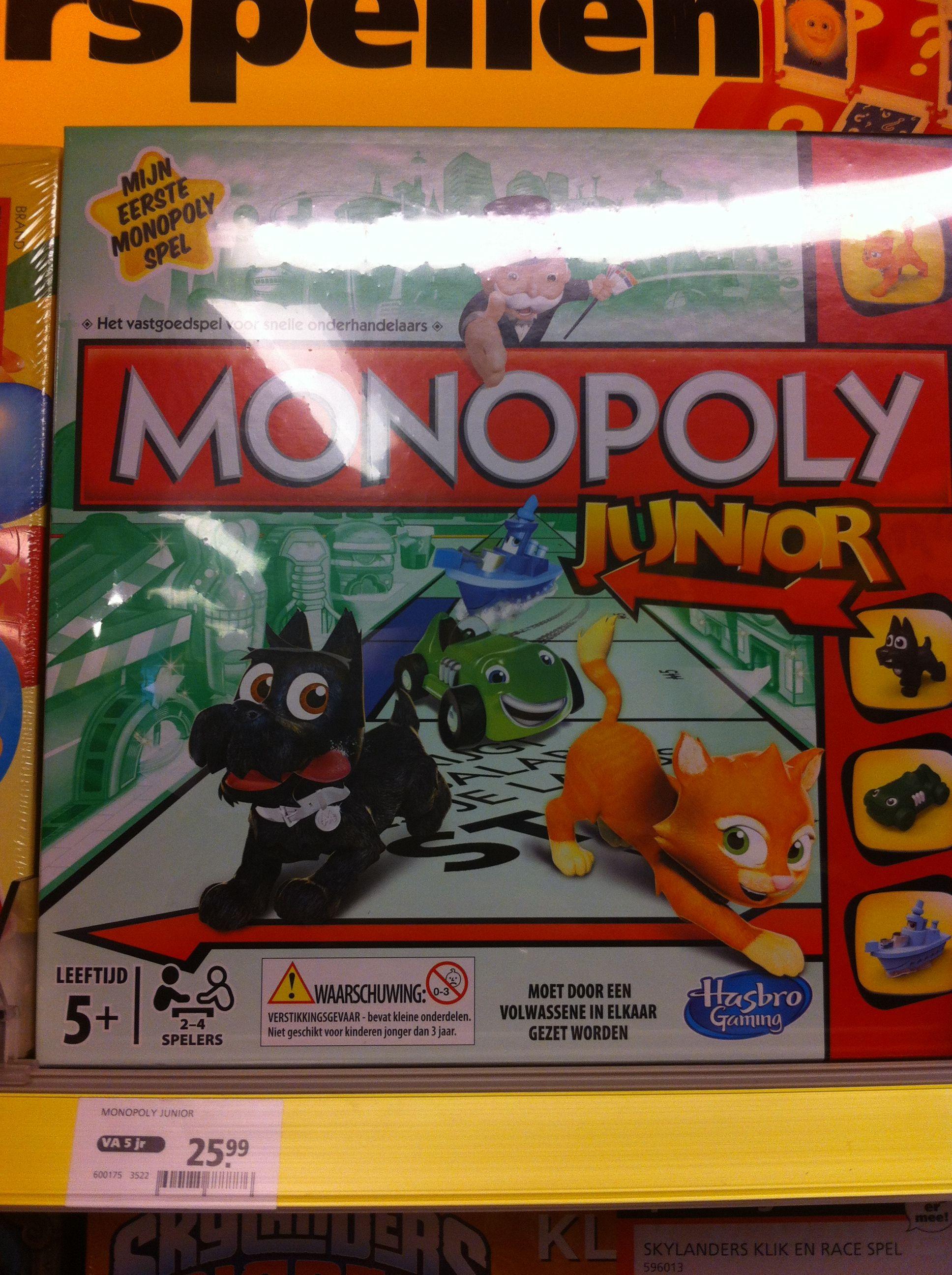 Monopoly junior (met hond, poes, auto, boot)