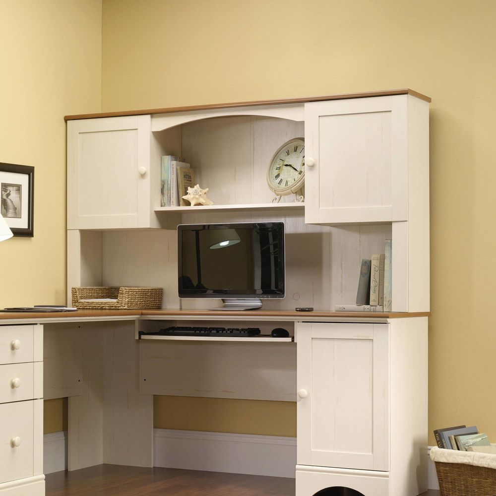 Pin On Amazing, Sauder Antique White Desk With Hutch