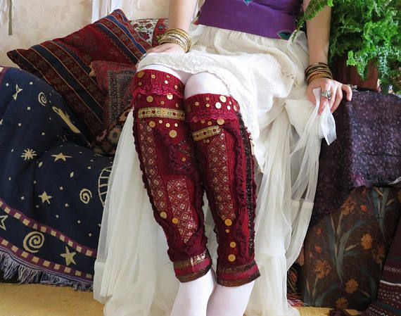 Knit Leg Warmers in Dark Red Merino Wool