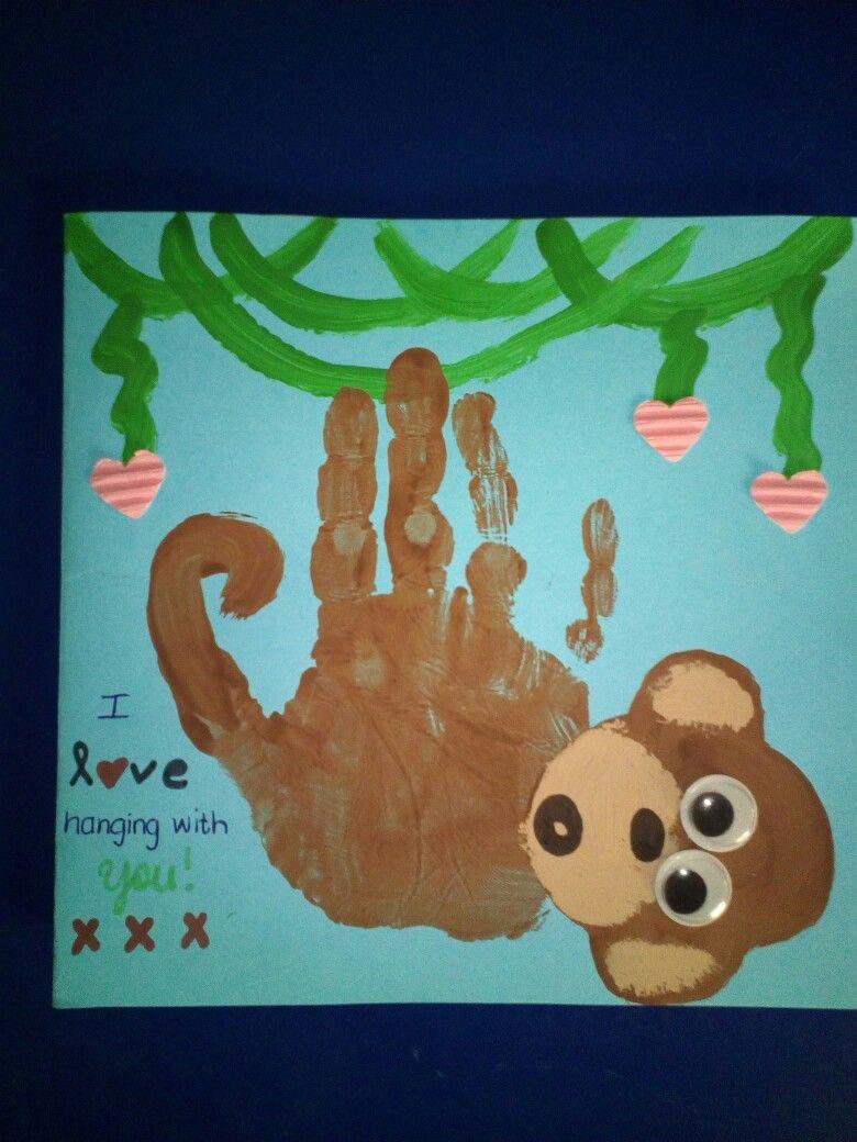 Father\'s day card craft preshool kindergarten handprint monkey cute ...