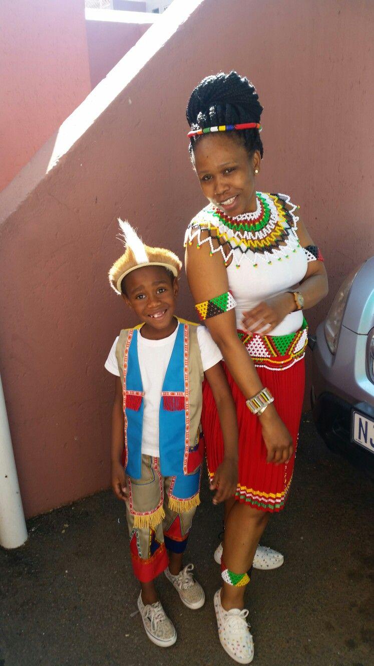 Zulu traditional dress in zulu kraal kwazulu natal - Zulu Traditional Wear Mother And Son Celebrate Heritageday In South Africa