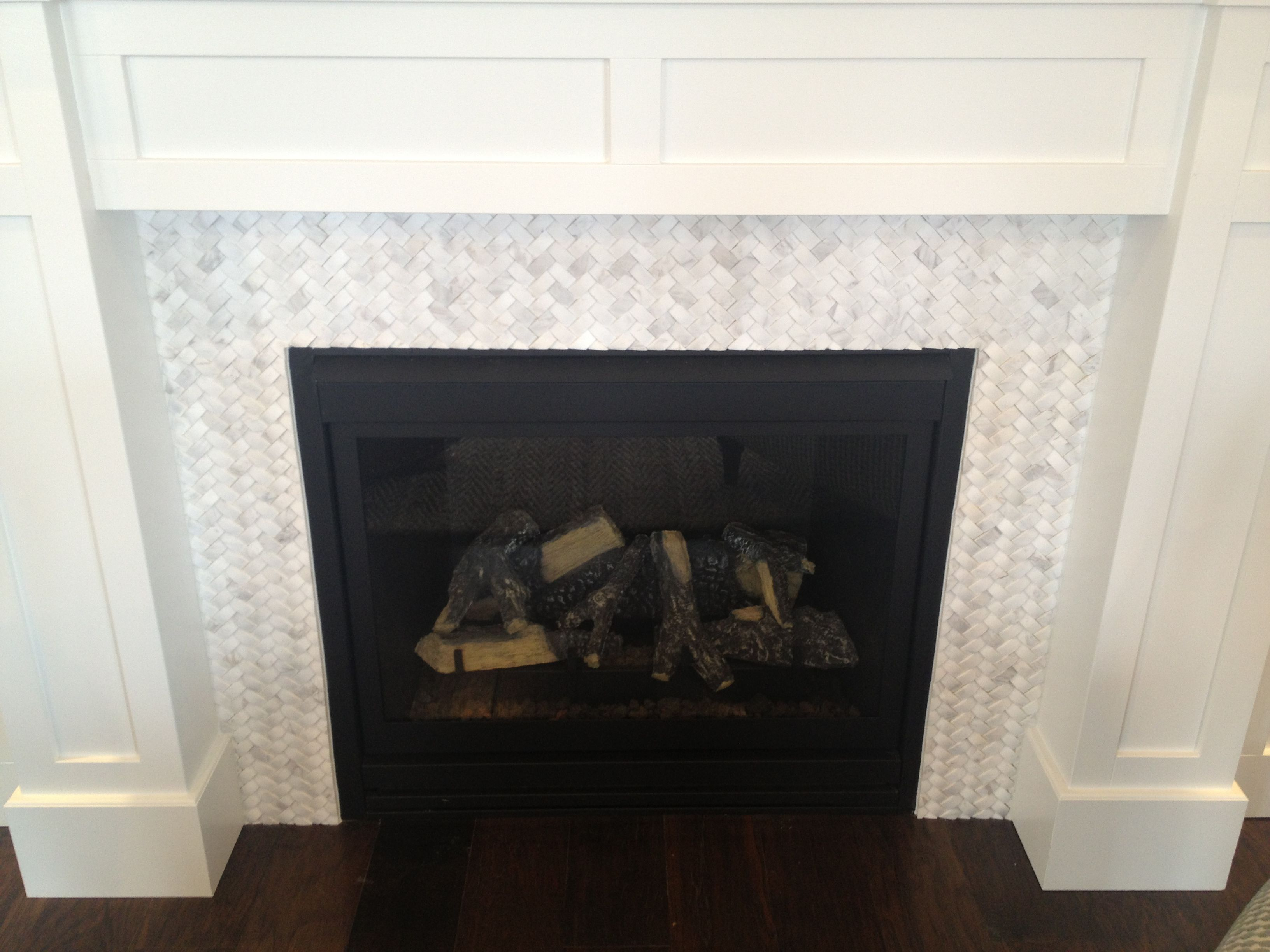 Basket Weave Carrara Marble Fireplace Tile Surround With White Mission Style