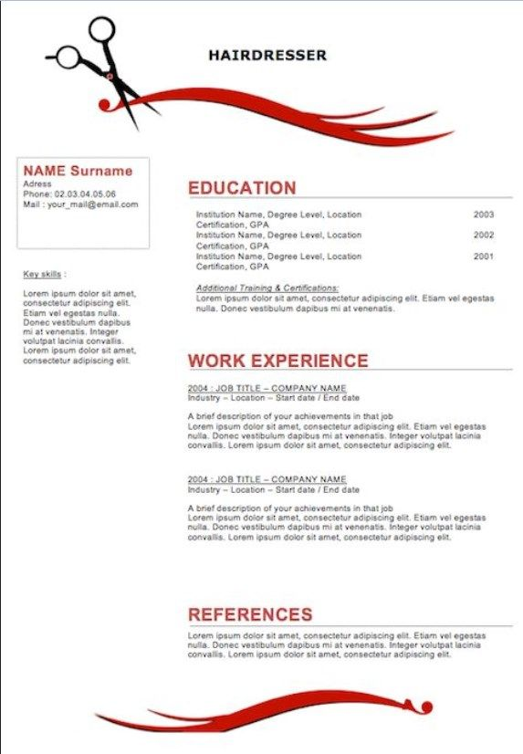 free resume examples for cosmetologist