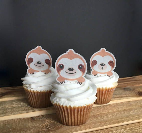 1be80016d136 Sloth Party Birthday Cupcake Toppers