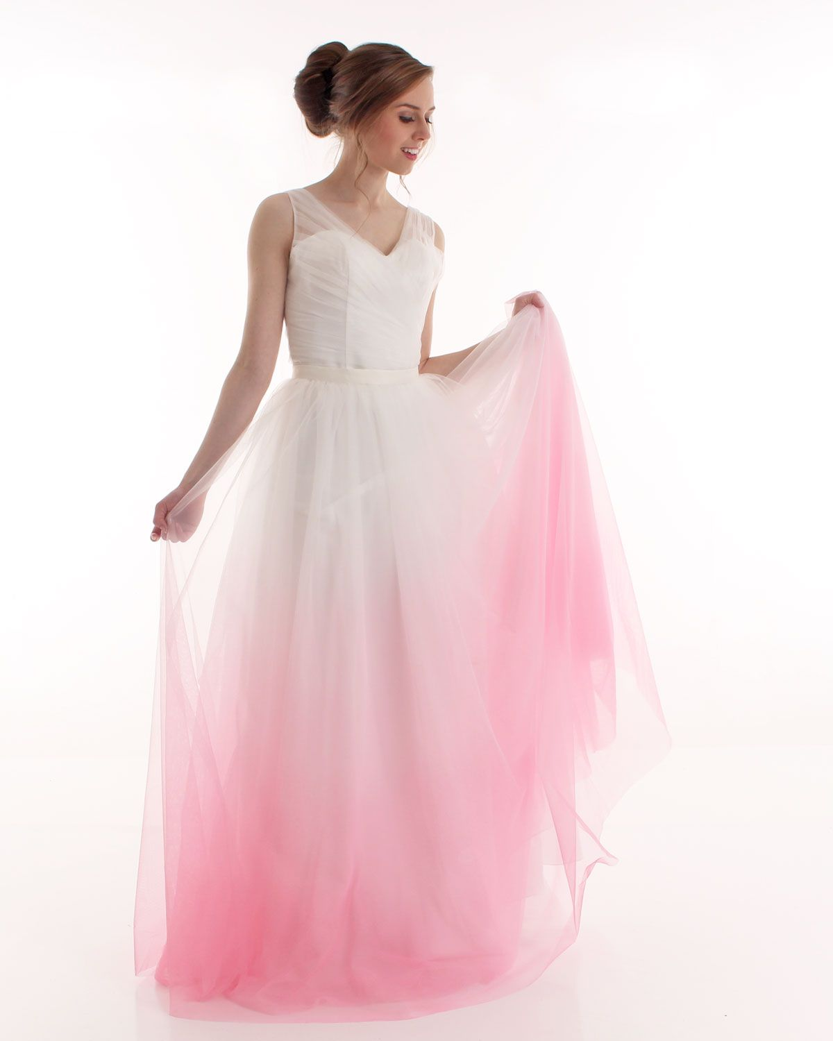 Ivory to blush pink ombre wedding skirt from Kaela Bridal