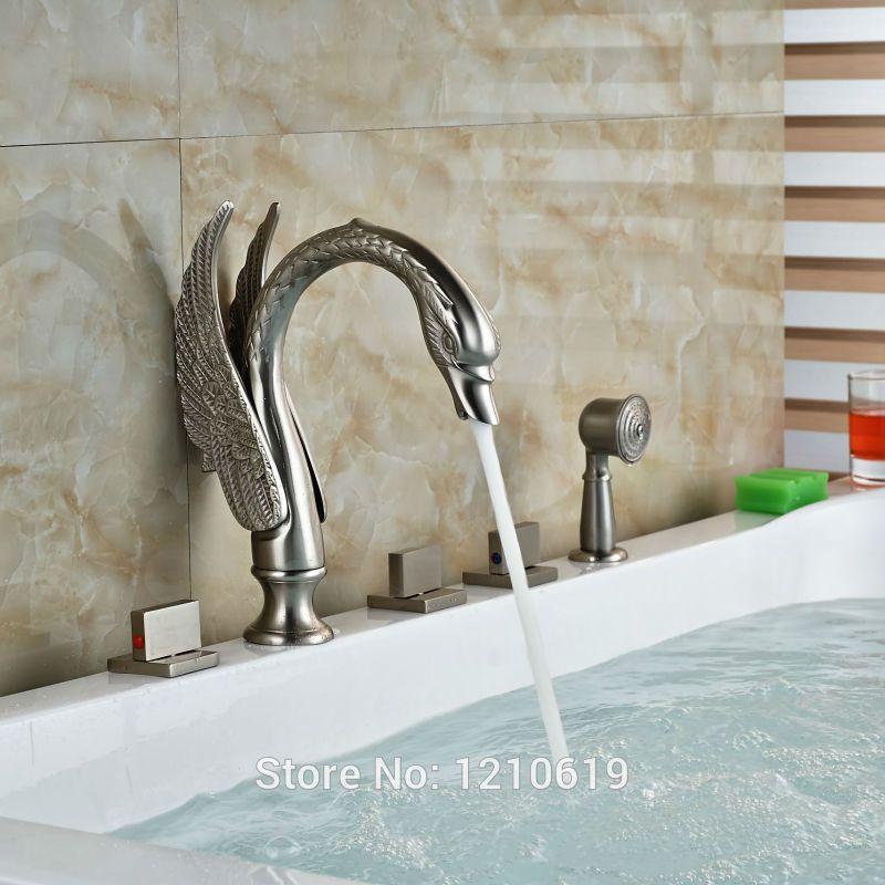 Uythner Newly Nickel Brushed Bathtub Faucet w/ Hand Shower Deck ...