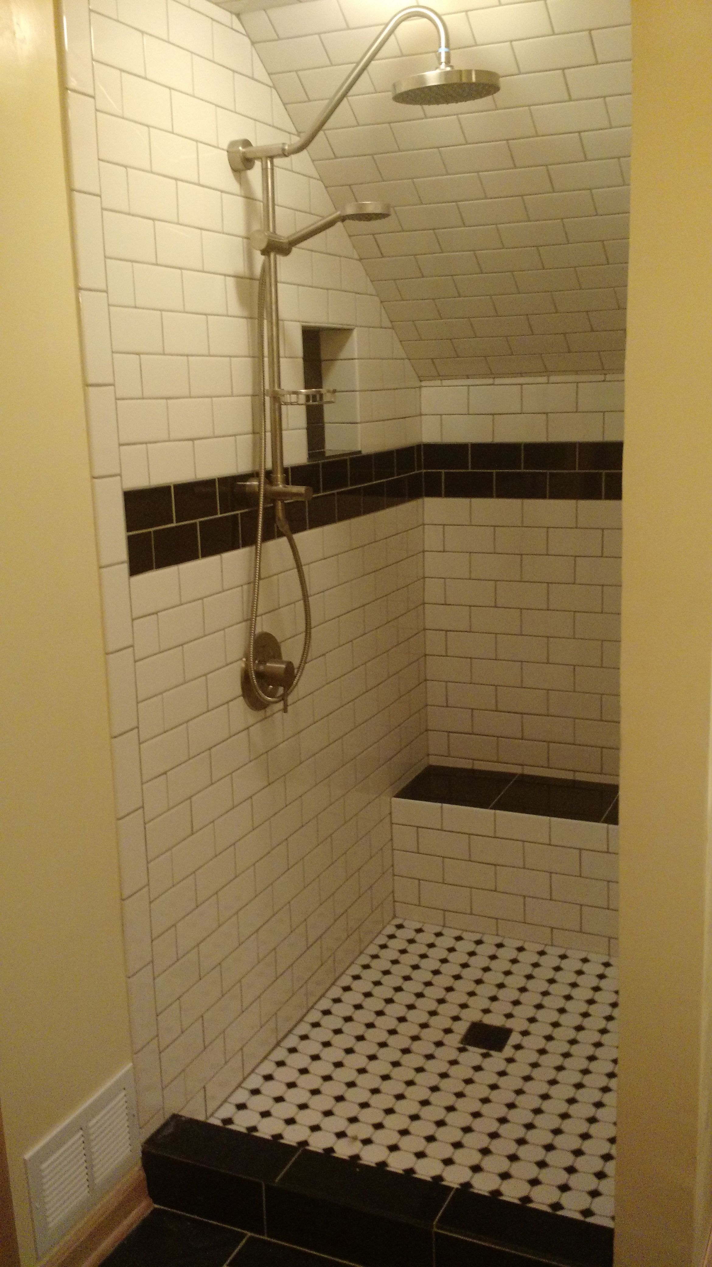 After Shower With Fixtures Installed Awaiting Door Bertini Tile Created The Pan Bench And Radiant Heat Floor