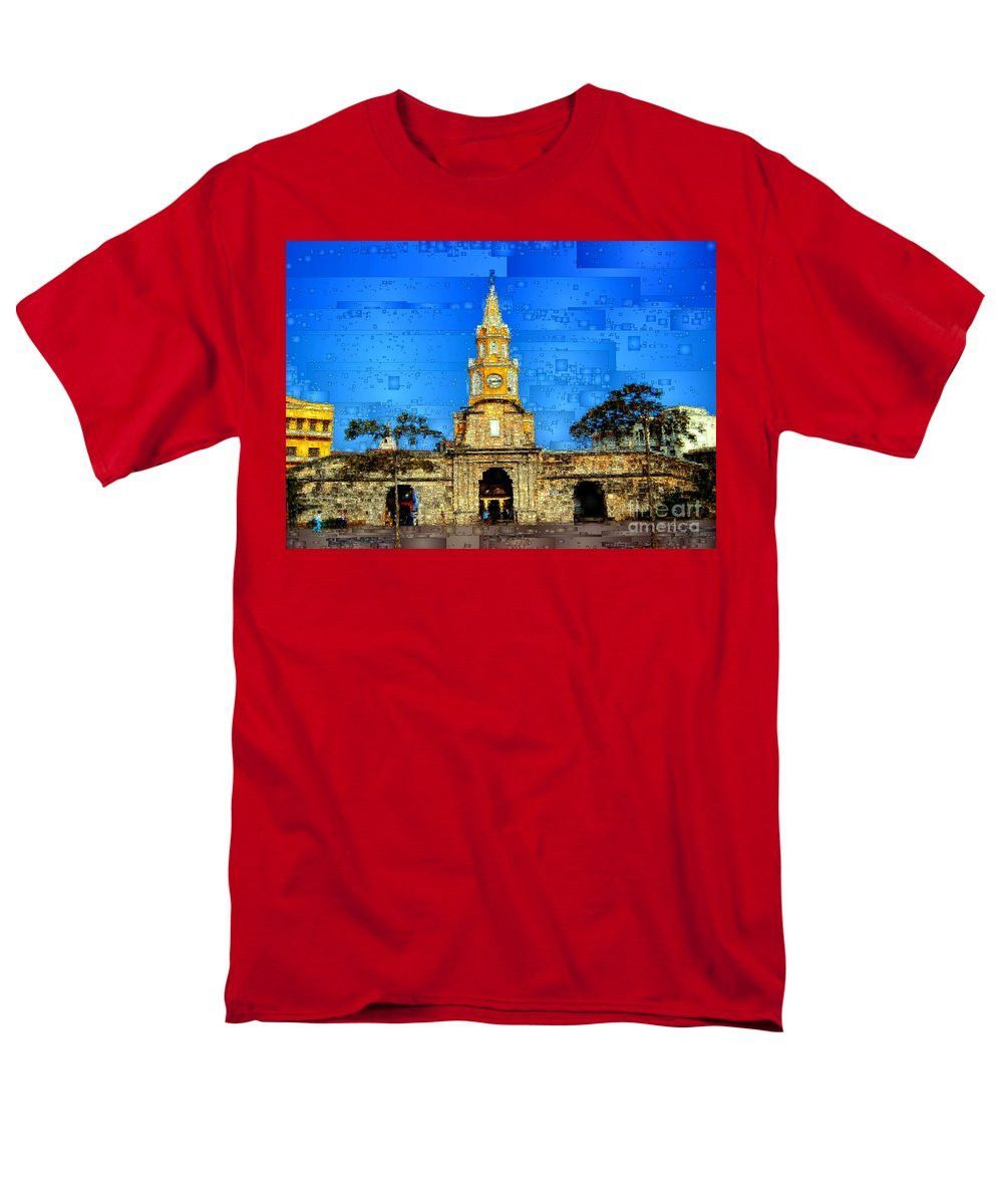 Men's T-Shirt (Regular Fit) - The Gate And Clock Tower In Cartagena Colombia