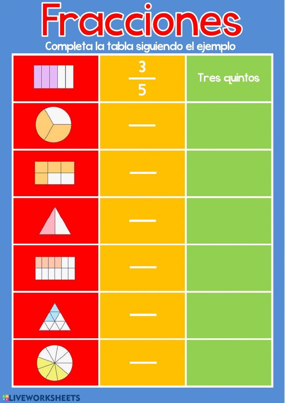Fracciones Completar Ficha Interactiva Fractions Math Fractions Math Interactive