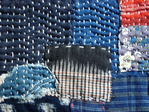 Beau tapis de style Boro avec des tissus par stitchedIndigo sur Etsy
