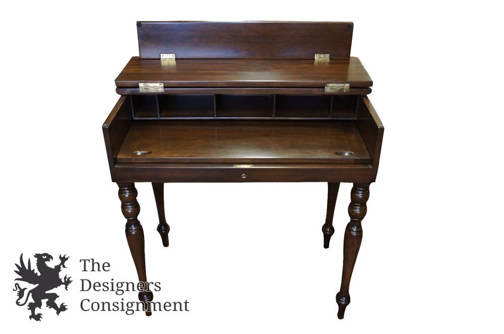 Antique Early American Style Mahogany Flip Top Secretary Writing Desk Rusticprimitive