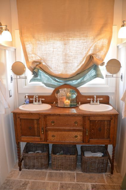 Bathroom with converted antique sideboard and burlap window treatments. #burlapwindowtreatments Bathroom with converted antique sideboard and burlap window treatments. #burlapwindowtreatments Bathroom with converted antique sideboard and burlap window treatments. #burlapwindowtreatments Bathroom with converted antique sideboard and burlap window treatments. #burlapwindowtreatments Bathroom with converted antique sideboard and burlap window treatments. #burlapwindowtreatments Bathroom with conver #burlapwindowtreatments