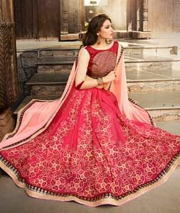 Buy Pink Georgette Half and Half Saree With Blouse 72113 with blouse online at lowest price from vast collection of sarees at Indianclothstore.com.