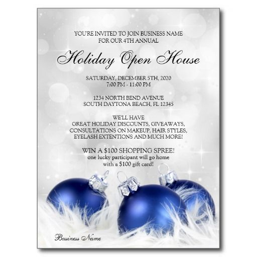 business christmas open house invitations postcard. Black Bedroom Furniture Sets. Home Design Ideas