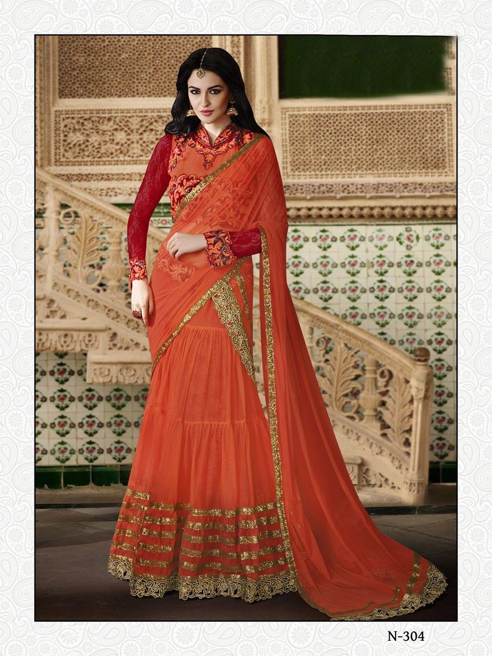 ef5e5930d4120 buy saree online Rust Colour Net Designer Wedding Wear Lehenga Choli Buy  Saree online UK - Buy Sarees online