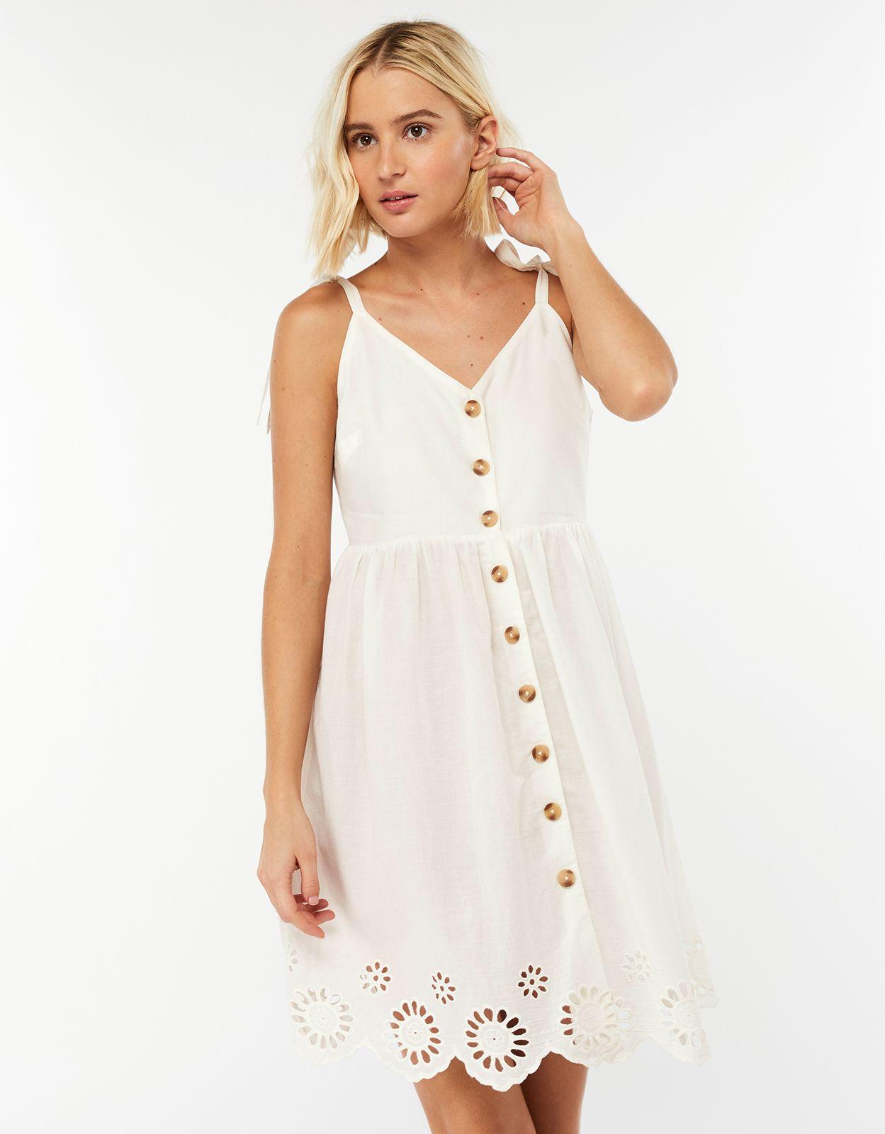8471f5512d Sarah Strappy Button Dress | White | X Small | 6974761050 | Accessorize