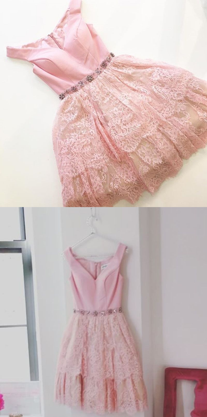 Pink dress hoco  ALine OfftheShoulder Cap Sleeves Pink Lace Homecoming Dress with