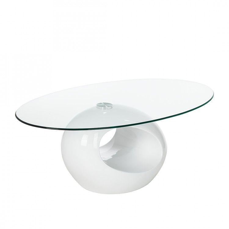 Couchtisch Glas Oval Weiß