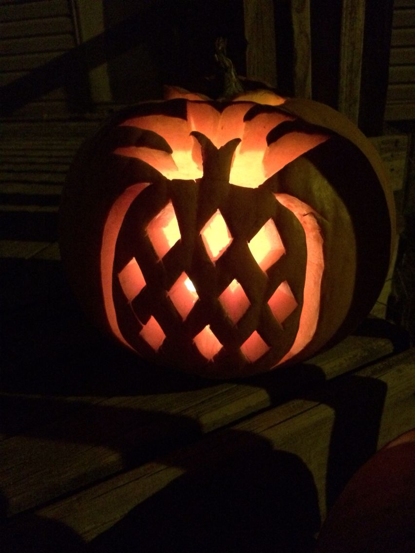 Pineapple carved pumpkin diy❤ pumpkin carvings