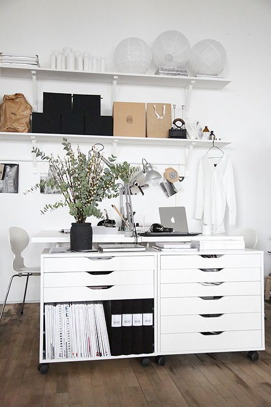 ikea home office storage. DIY: IKEA Hack Alex-hurts (Trendenser) // Home Office Ideas White Workspace Ikea Storage