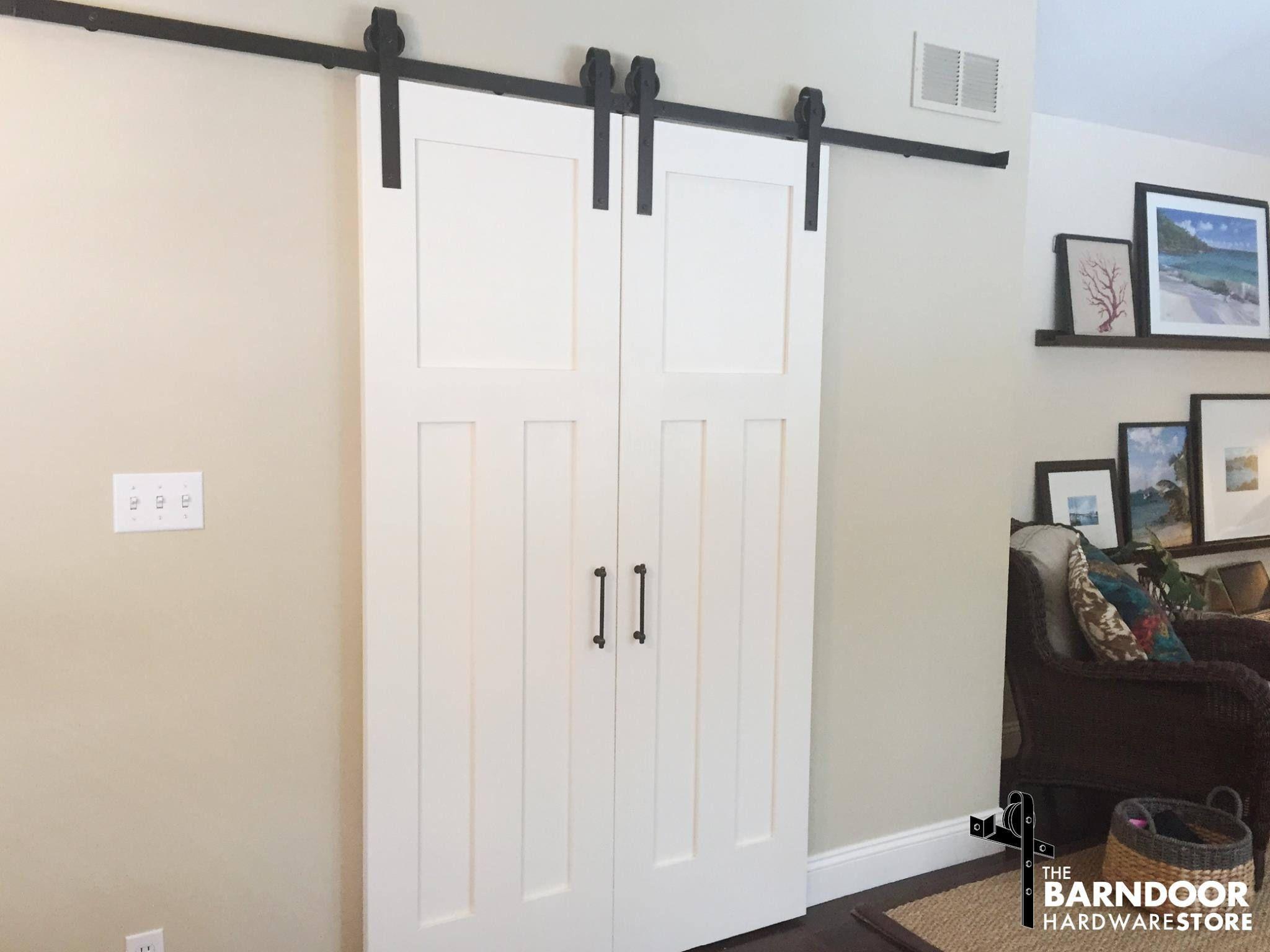 Double Door Bi Parting Sliding Barn Door Hardware Roller Kit