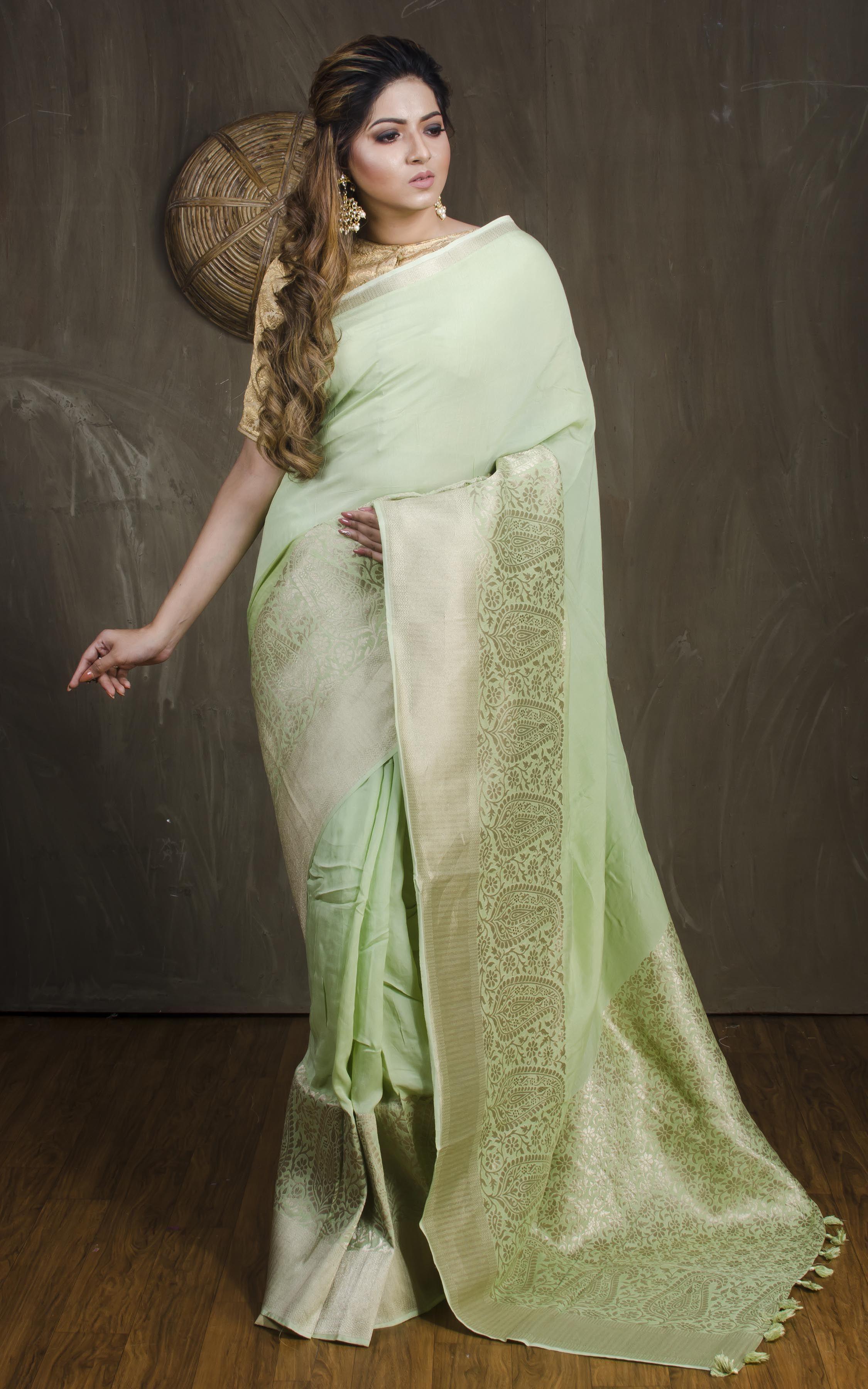 bb7e3051d2 Pure Muga Cotton Banarasi Saree in Sea Green | Indian Banarasi Silk ...