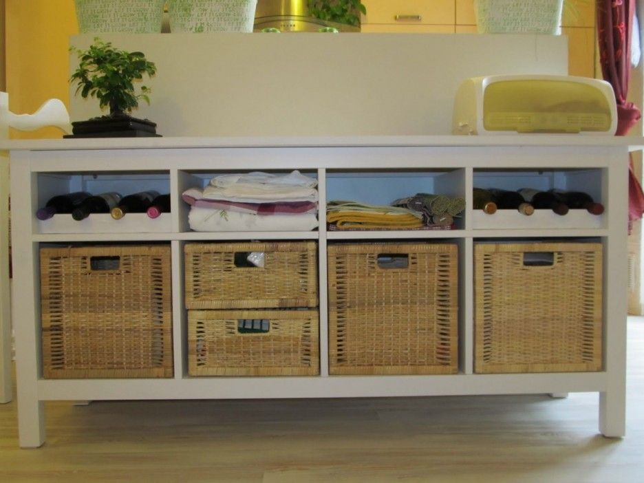 Furniture Interior Exciting Narrow Console Table Ikea Good Looking Entryway Featuring White Wooden With Shelves And Rattan Basket