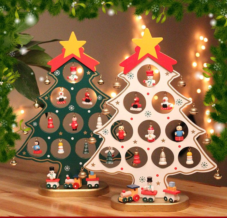 Diy Mini Wooden Christmas Tree With 15 Small Ornament Snowman Bell Table Decor Indoor