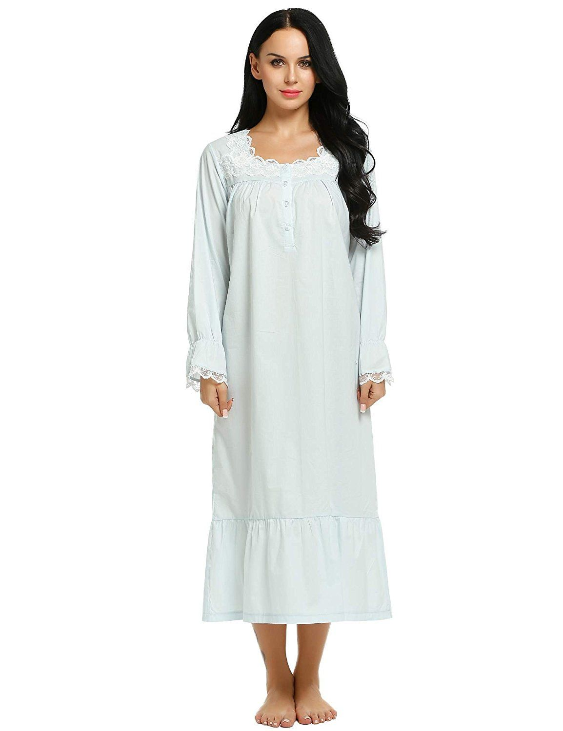 Ekouaer sleepshirts womens long sleep wear dress comfy victorian