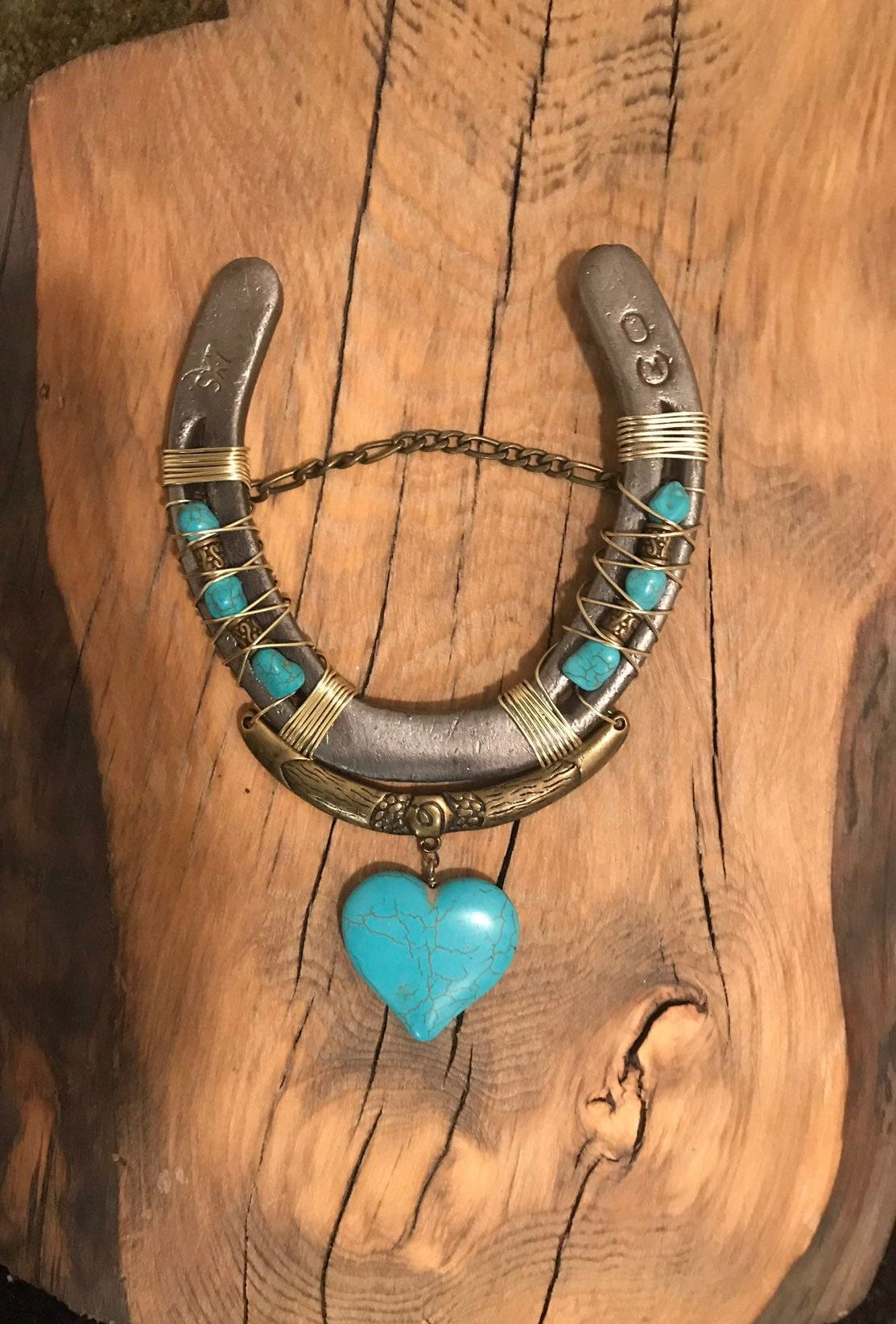 Turquoise Heart Lucky Horseshoe Boho Wall Art Horseshoe Decor