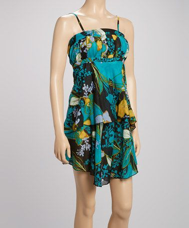 Look what I found on #zulily! Teal Floral Tiered Dress by Lazy Daisy #zulilyfinds