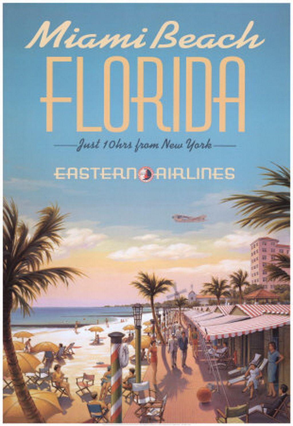Miami Beach Florida Poster Beach Posters Florida Travel